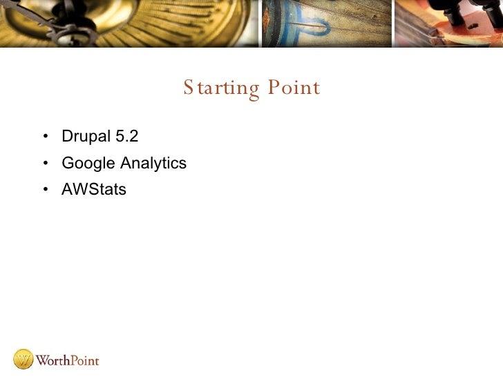 Starting Point <ul><li>Drupal 5.2 </li></ul><ul><li>Google Analytics </li></ul><ul><li>AWStats </li></ul>