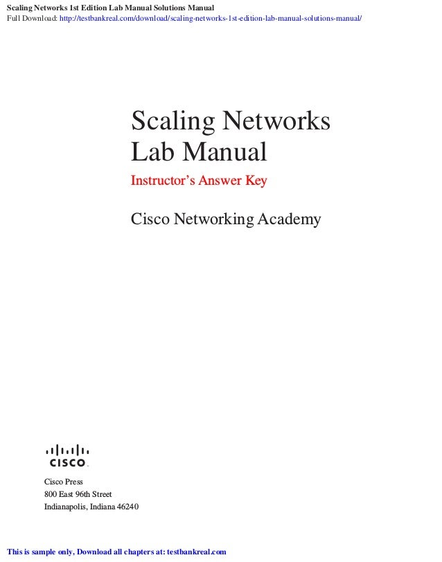 Scaling Networks 1st Edition Lab Manual Solutions Manual