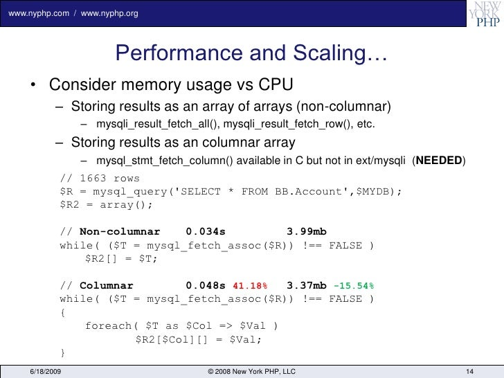 www.nyphp.com / www.nyphp.org                            Performance and Scaling…     • Consider memory usage vs CPU      ...