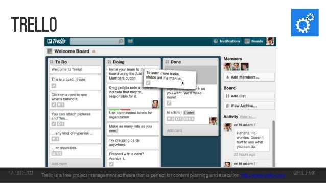 trello  iacquire.com  Trello is a free project management software that is perfect for content planning and execution http...