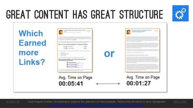 Great content has great structure  iacquire.com  Use images, bullets, formatting to capture the attention of more people. ...