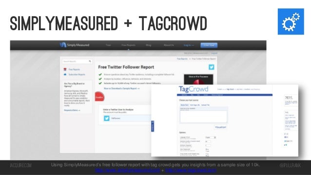Simplymeasured + tagcrowd  iacquire.com  Using SimplyMeasured's free follower report with tag crowd gets you insights from...