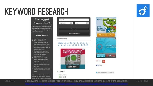 Keyword research  iacquire.com  Use keyword research tools to vet content ideas, they are a direct look into the psyche of...