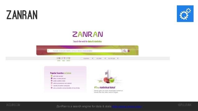Zanran  iacquire.com  ZanRan is a search engine for data & stats http://www.zanran.com/  @iPullRank