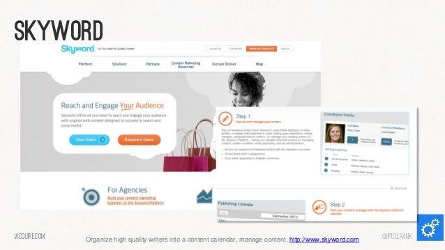skyword  iacquire.com  Organize high quality writers into a content calendar, manage content. http://www.skyword.com  @iPu...