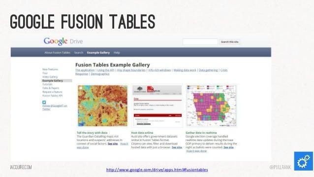 Google fusion tables  iacquire.com  http://www.google.com/drive/apps.html#fusiontables  @iPullRank