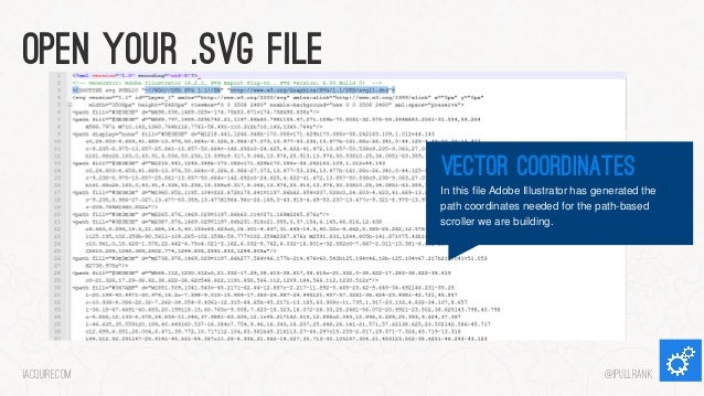 Open your .svg file Vector coordinates In this file Adobe Illustrator has generated the path coordinates needed for the pa...