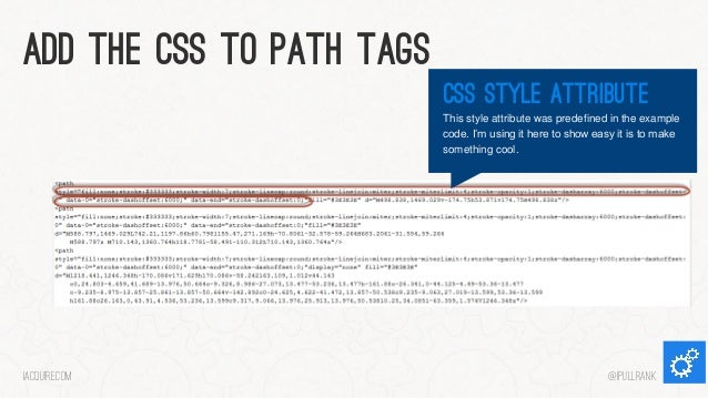 Add the css to path tags css style attribute This style attribute was predefined in the example code. I'm using it here to...