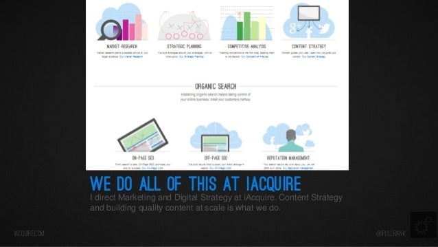 we do all of this at iacquire  I direct Marketing and Digital Strategy at iAcquire. Content Strategy and building quality ...