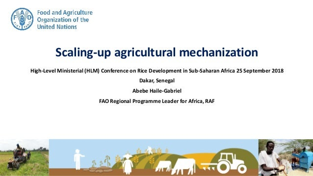 Scaling-up agricultural mechanization High-Level Ministerial (HLM) Conference on Rice Development in Sub-Saharan Africa 25...