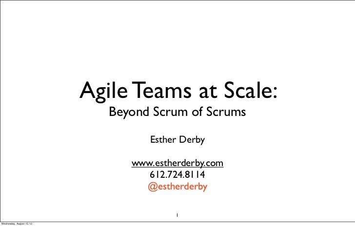 Agile Teams at Scale:                              Beyond Scrum of Scrums                                    Esther Derby ...