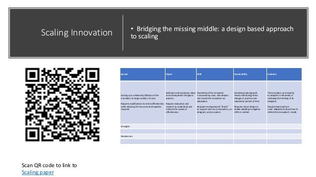 Scaling Innovation • Bridging the missing middle: a design based approach to scaling Spread Depth Shift Sustainability Evo...