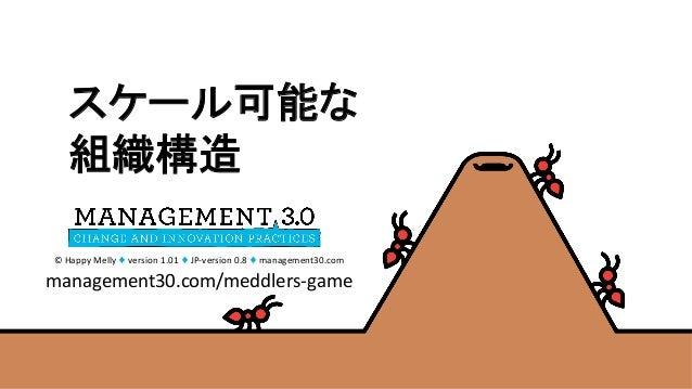 ©HappyMelly♦version1.01♦JP-version0.8♦management30.com management30.com/meddlers-game スケール可能な 組織構造
