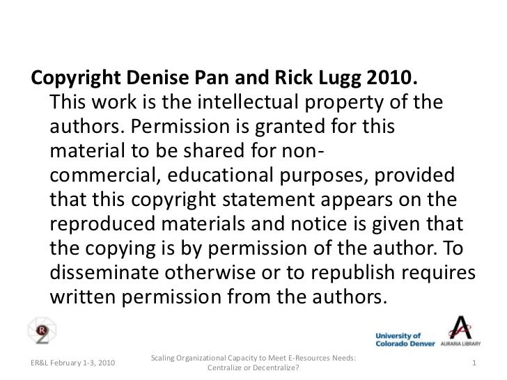Copyright Denise Pan and Rick Lugg 2010.  This work is the intellectual property of the  authors. Permission is granted fo...