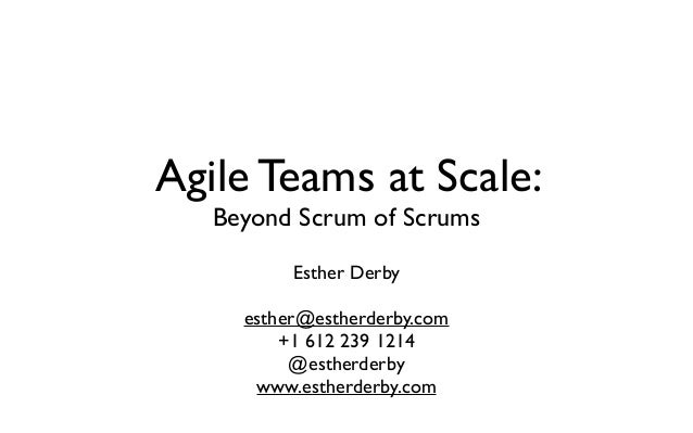 Agile Teams at Scale:Beyond Scrum of ScrumsEsther Derbyesther@estherderby.com+1 612 239 1214@estherderbywww.estherderby.com