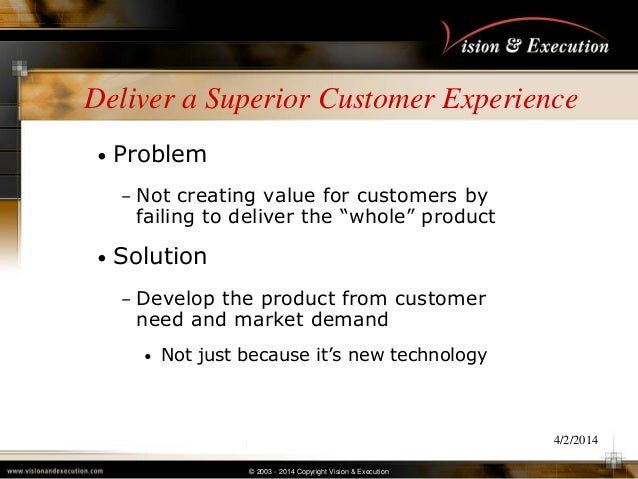 © 2003 - 2014 Copyright Vision & Execution 4/2/2014 Deliver a Superior Customer Experience • Problem – Not creating value ...