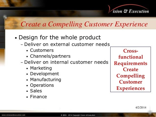 © 2003 - 2014 Copyright Vision & Execution 4/2/2014 Create a Compelling Customer Experience • Design for the whole product...
