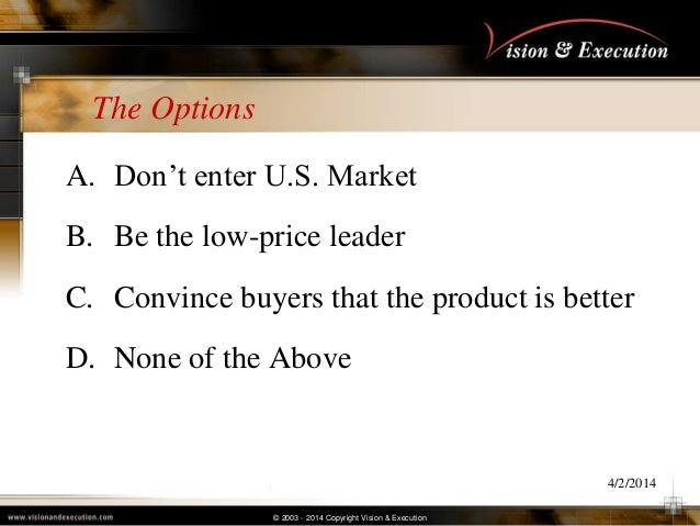 © 2003 - 2014 Copyright Vision & Execution The Options A. Don't enter U.S. Market B. Be the low-price leader C. Convince b...