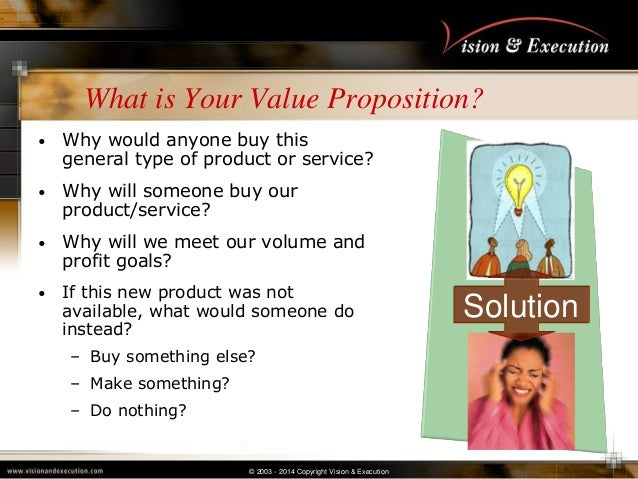 © 2003 - 2014 Copyright Vision & Execution 4/2/2014 • Why would anyone buy this general type of product or service? • Why ...