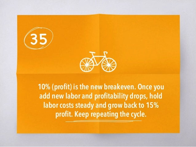 35 10% (profit) is the new breakeven. Once you add new labor and profitability drops, hold labor costs steady and grow back ...