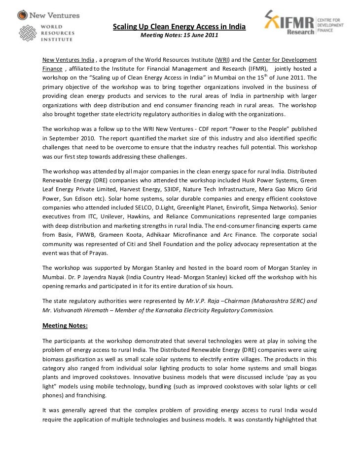 Scaling Up Clean Energy Access in India                                      Meeting Notes: 15 June 2011New Ventures India...