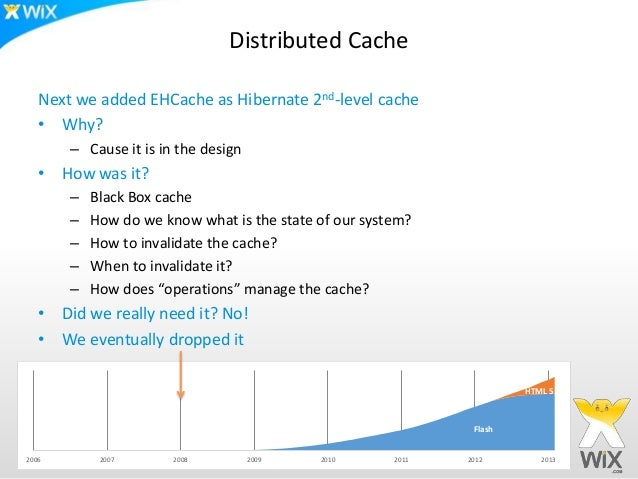Distributed Cache   Next we added EHCache as Hibernate 2nd-level cache   • Why?       – Cause it is in the design   • How ...