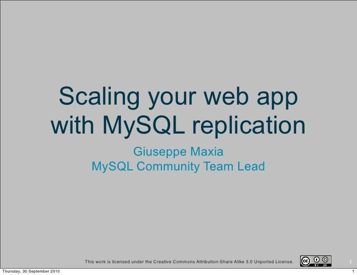 Scaling your web app                       with MySQL replication                                      Giuseppe Maxia     ...