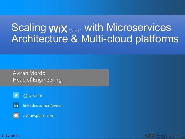 @aviranm Aviran Mordo Head of Engineering @aviranm linkedin.com/in/aviran aviransplace.com Scaling with Microservices Arch...