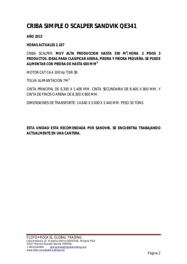 CRIBA SIMPLE SCALPER SANDVIK QE341 Slide 2