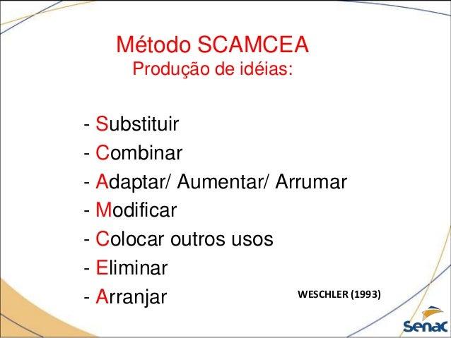 Método SCAMCEA Produção de idéias: - Substituir - Combinar - Adaptar/ Aumentar/ Arrumar - Modificar - Colocar outros usos ...
