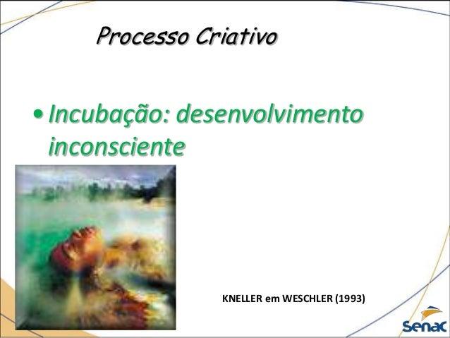 Processo Criativo •Incubação: desenvolvimento inconsciente KNELLER em WESCHLER (1993)