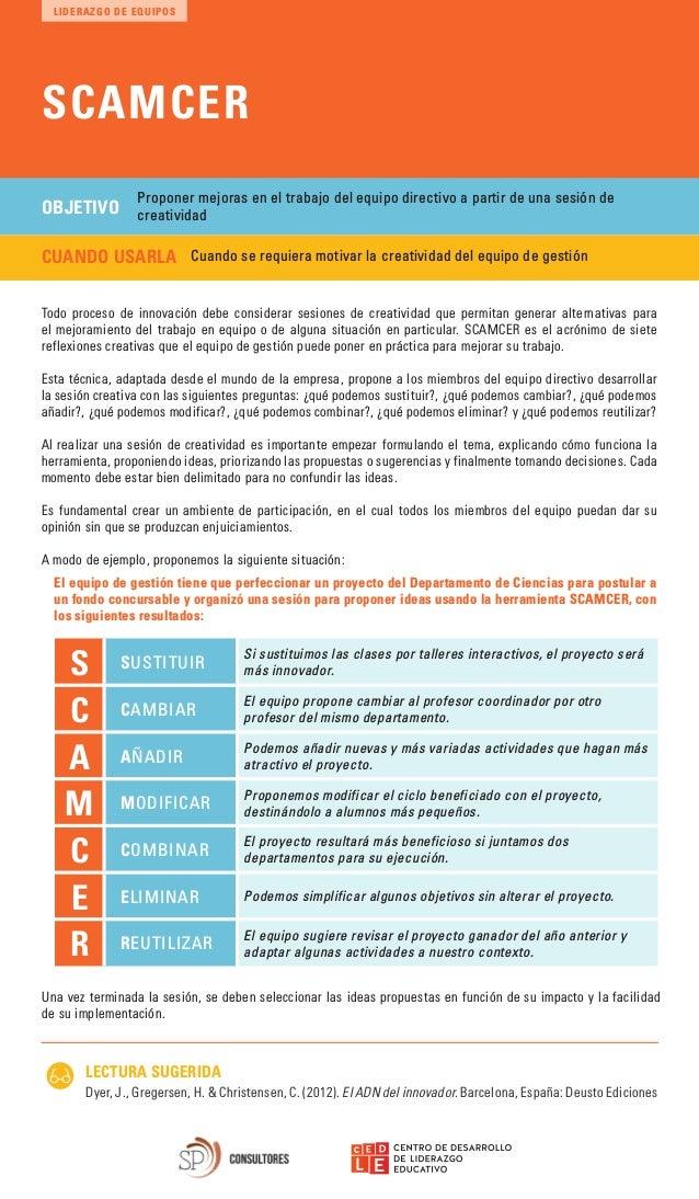 SCAMCER LECTURA SUGERIDA Dyer, J., Gregersen, H. & Christensen, C. (2012). El ADN del innovador. Barcelona, Espa�a: Deusto...
