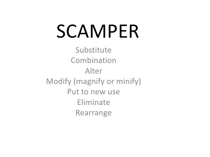 SCAMPER        Substitute      Combination           AlterModify (magnify or minify)     Put to new use        Eliminate  ...