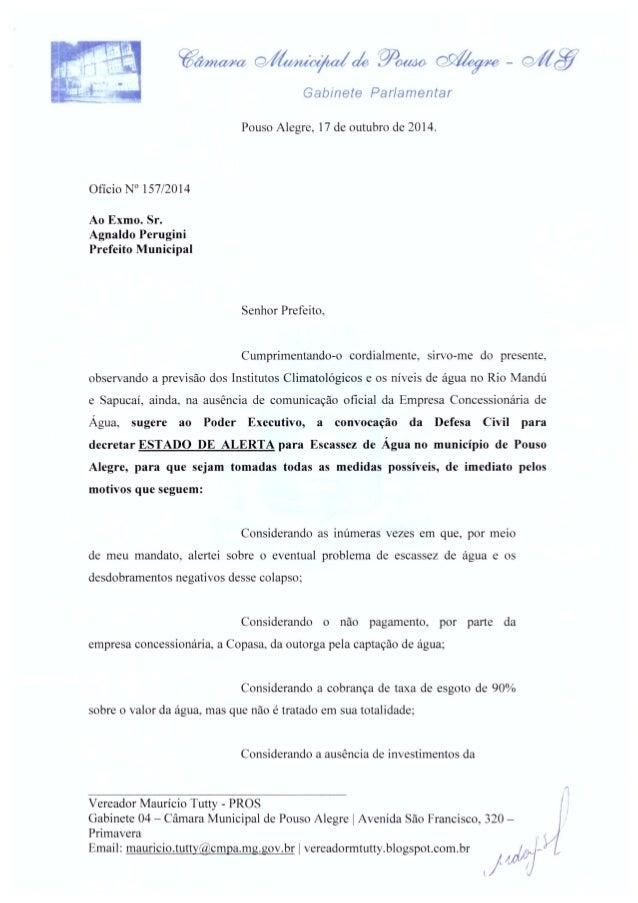 @ana/ ra Ç3/%/ mk%a/   : mal/ Ao  -   Gabinete Parlamentar     Pouso Alegre,  17 de outubro de 2014.  Oficio N° 157/2014  ...