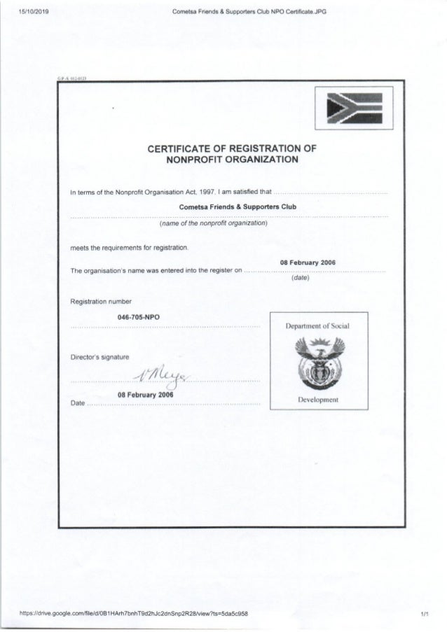 Certificate - COMETSA Friends & Supporters Club NPO