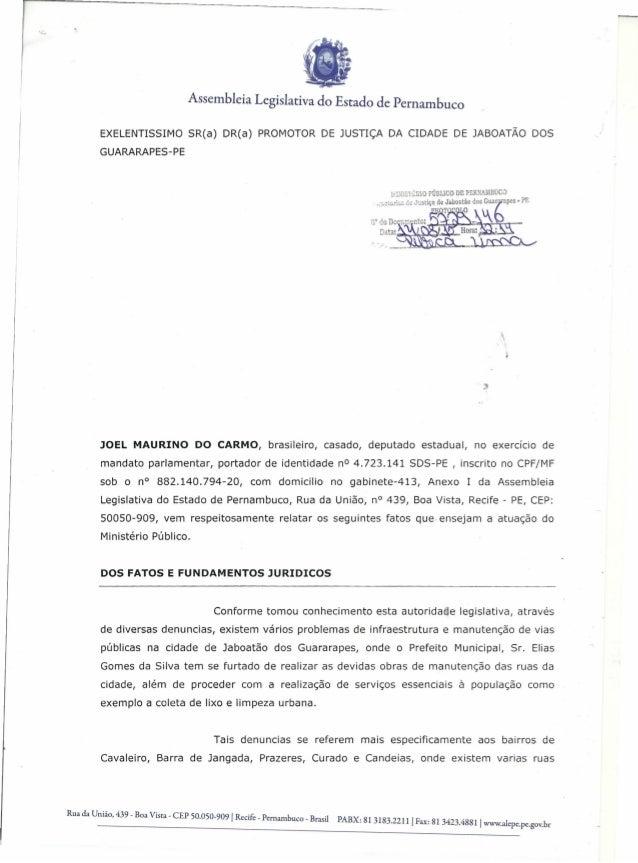 Assembleia Legislativa do Estado de Pernambuco EXELENTISSIMO SR(a) DR(a) PROMOTOR DE JUSTIÇA DA CIDADE DE JABOATÃO DOS GUA...