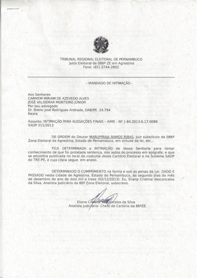 Sentença AIME 1-84.2013