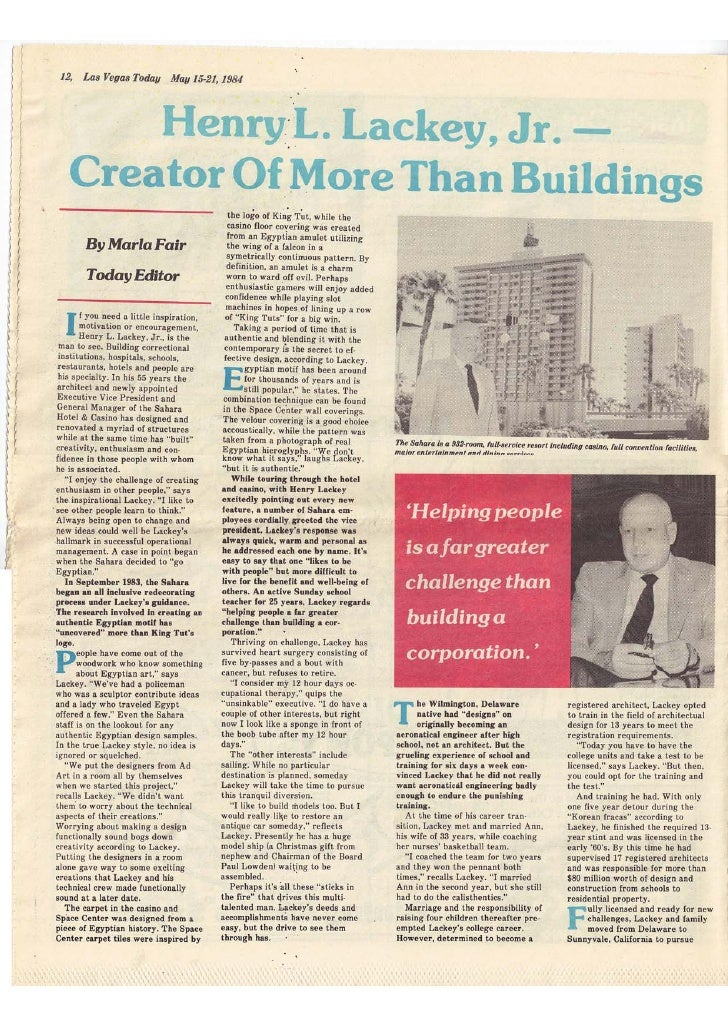 """Las Vegas Today - May 15th-21st 1984 - """"Henry Lackey Jr - Creator of More than Buildings"""""""