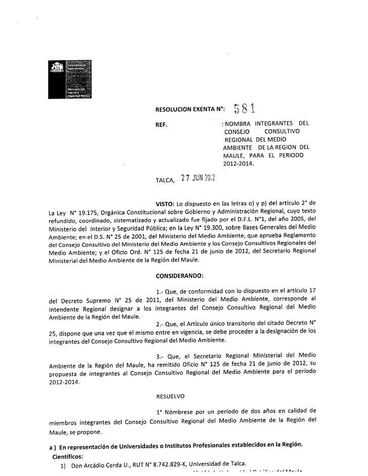 Nominación Consejo Consultivo Regional del Medio Ambiente de la Región en período 2012-2014