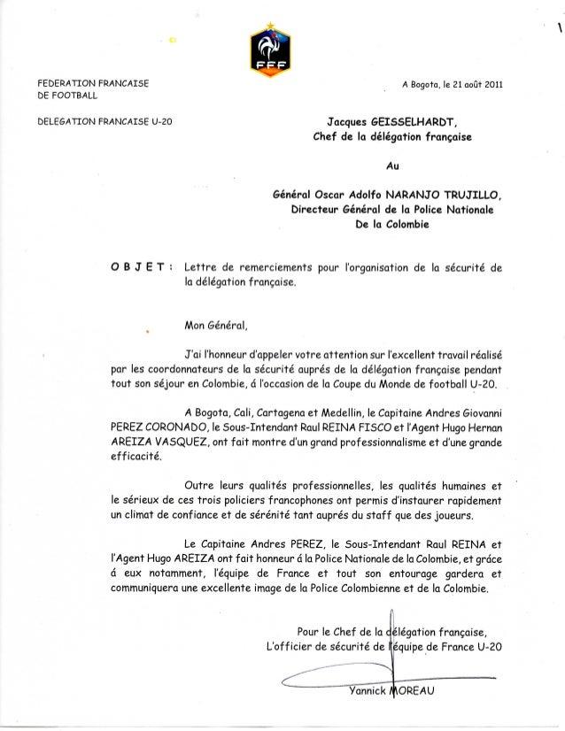 Lettre de remerciements de la délégation française