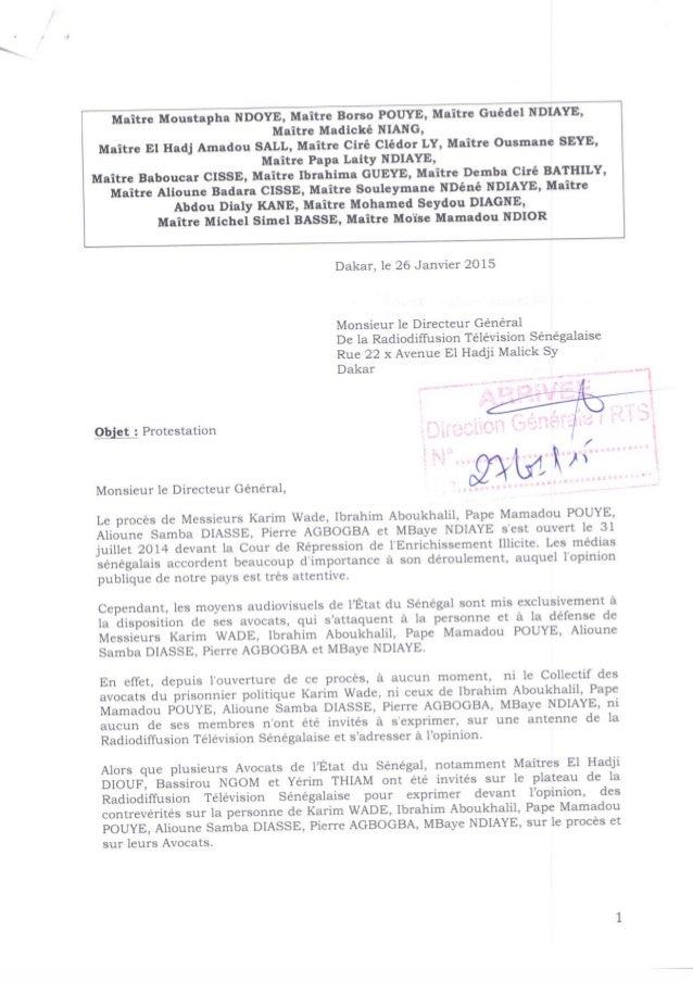Lettre de protestation des avocats de Karim Wade contre la Rts