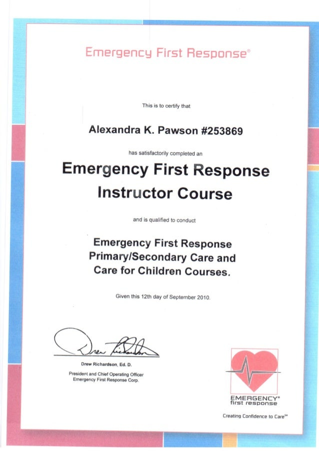 emergency response instructor certificate course pawson alexandra slideshare issued september upcoming