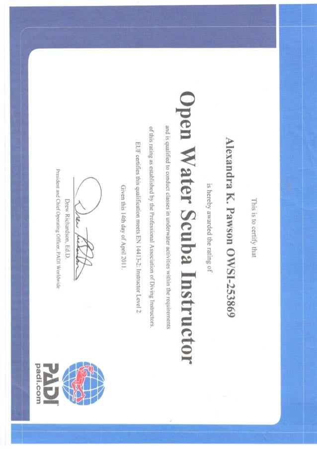 PADI (Professional Association of Diving Instructors) Certificate - O…