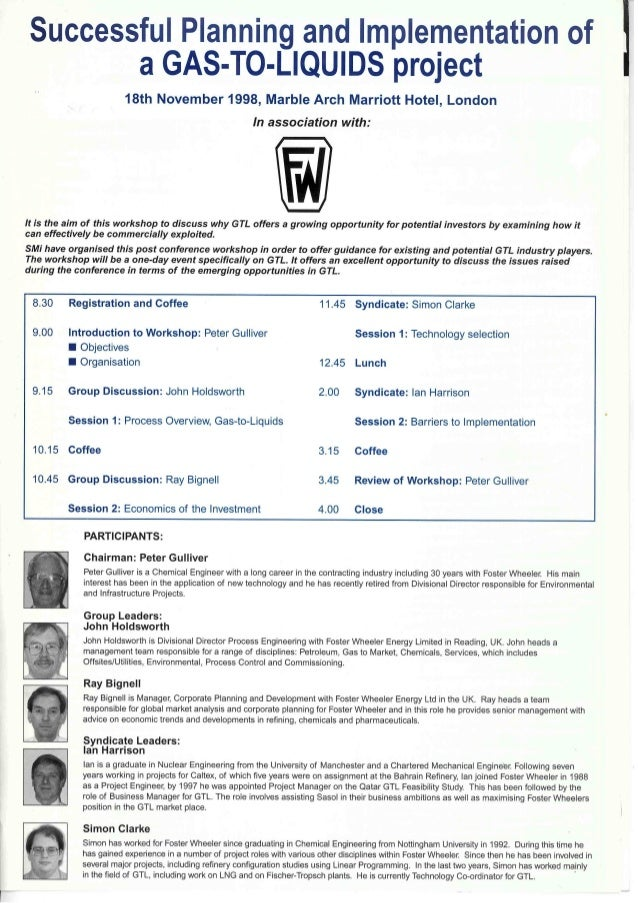 SMi Group's First Ever Gas to Liquids conference in 1998 - Post conference workshop