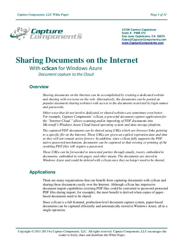 Capture Components, LLC White Paper                                                               Page 1 of 13            ...