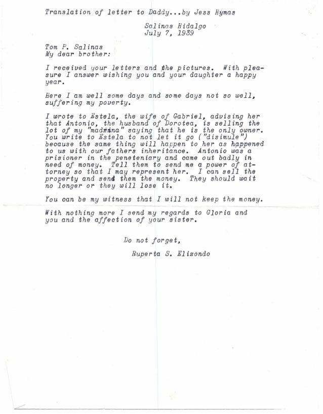 Translation   of letter    to Daddy ••• by Jess Hymas                             Salinas Hidalgo                         ...