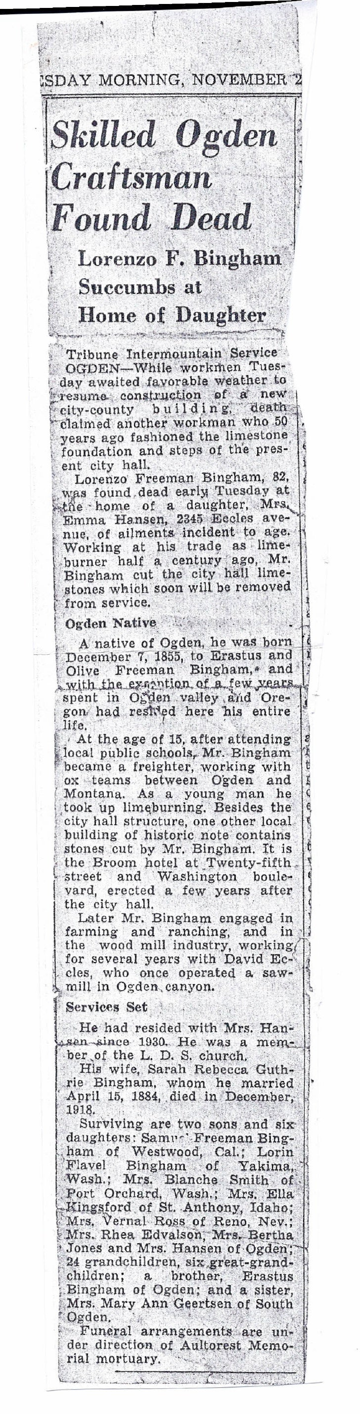 Lorenzo Freeman Bingham Obituary