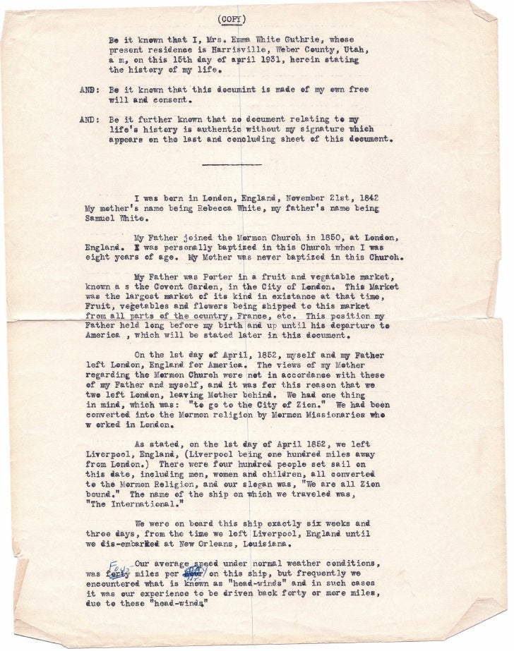 --                                          (copy)                 Be it knownth~t, I, Mrs. E~ White Guthrie; whose       ...