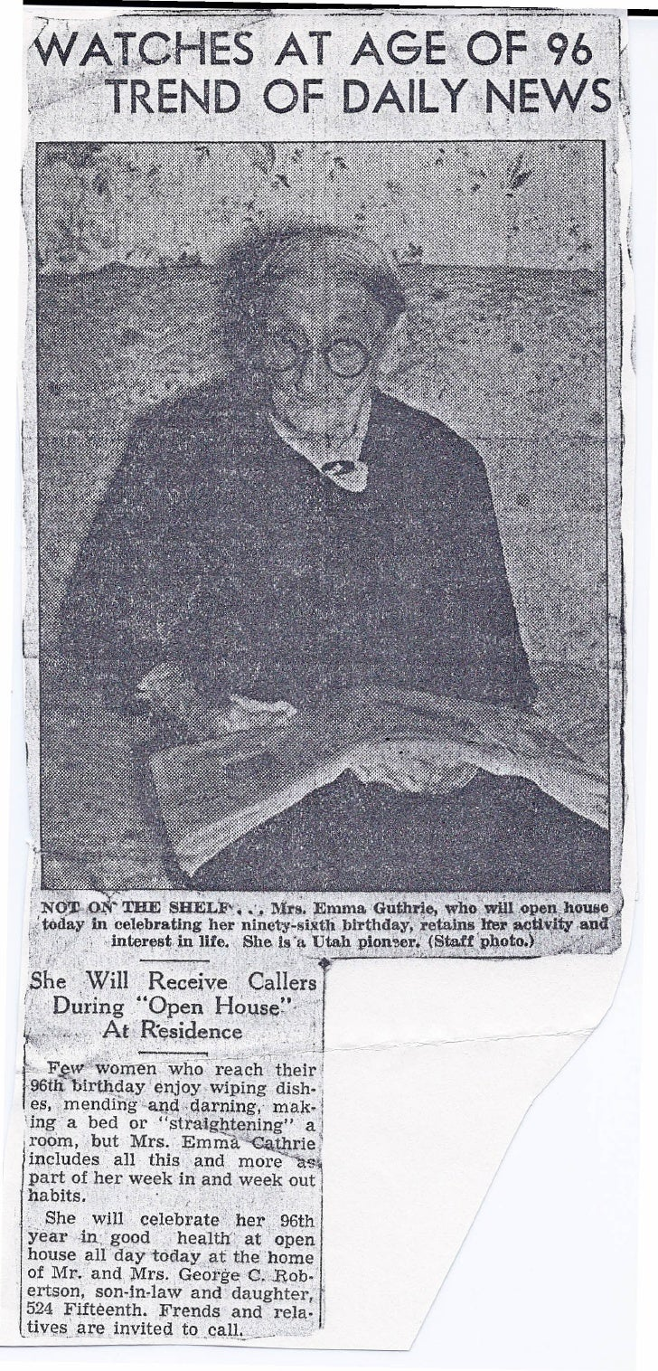 Emma Guthrie aged 96 Newspaper story