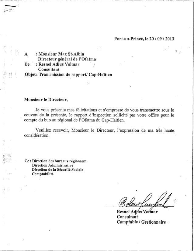Rapport sur l'OFATMA de Cap-Haitien. (Irrégularités et corruption)
